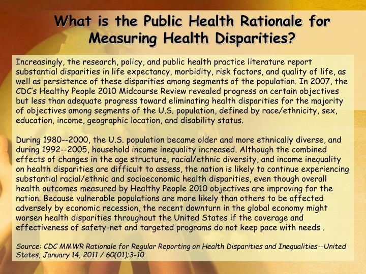 What is the Public Health Rationale for