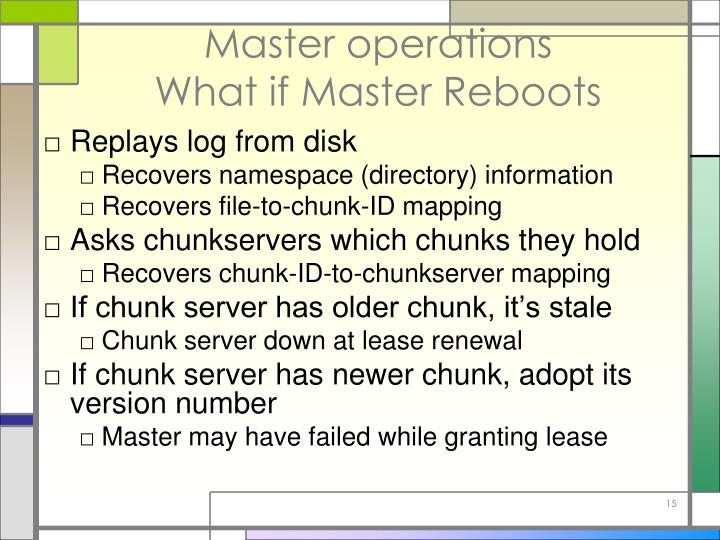 Master operations