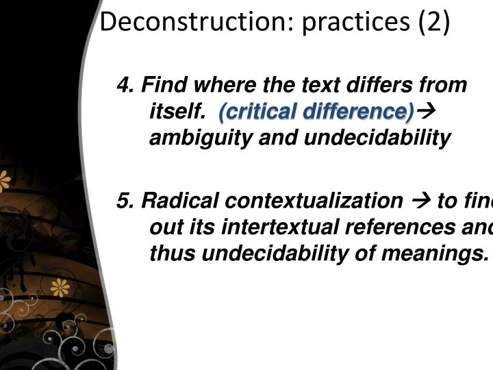 Deconstruction: practices (2)