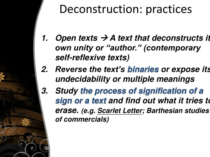 Deconstruction: practices