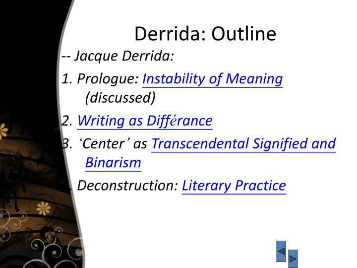 Derrida: Outline