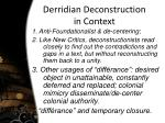 derridian deconstruction in context