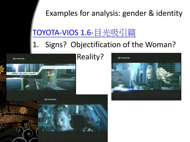 Examples for analysis: gender & identity