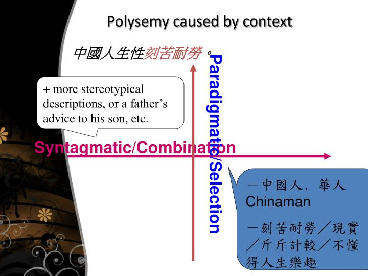 Polysemy caused by context