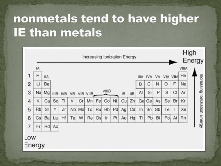 nonmetals tend to have higher IE than metals