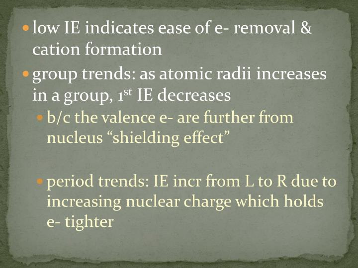 low IE indicates ease of e- removal &