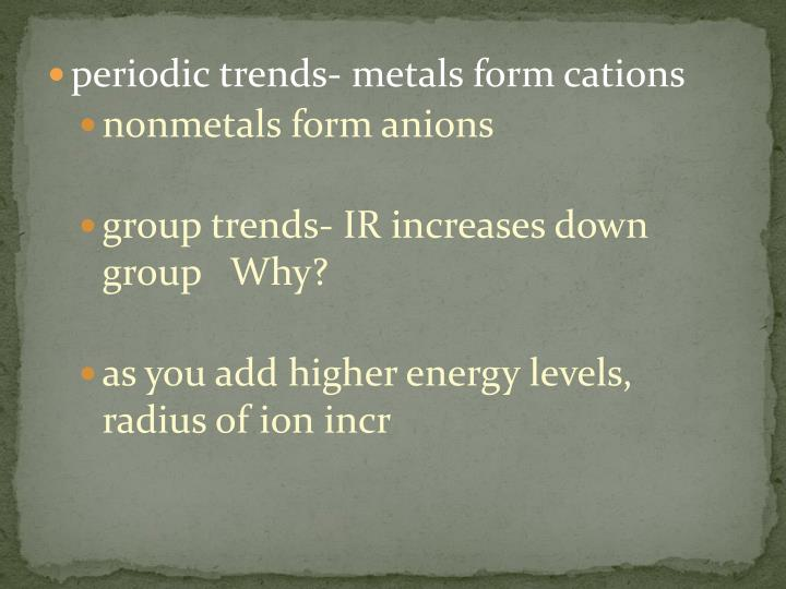 periodic trends- metals form