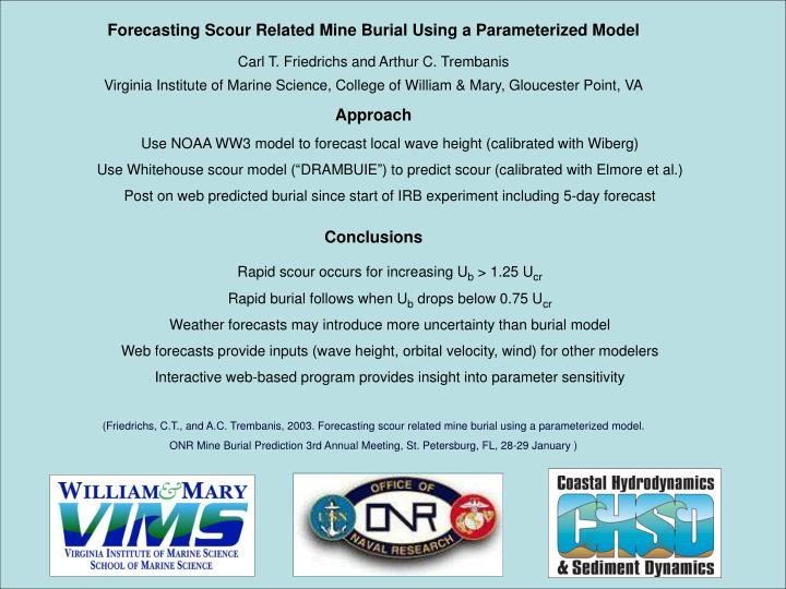 Forecasting Scour Related Mine Burial Using a Parameterized Model