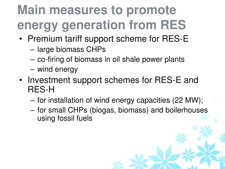 Main measures to promote energy generation