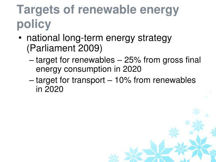 Targets of renewable energy policy