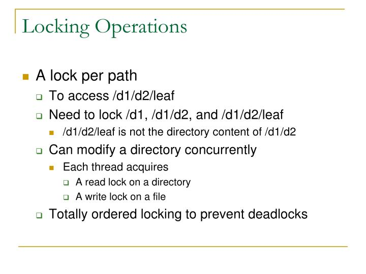 Locking Operations
