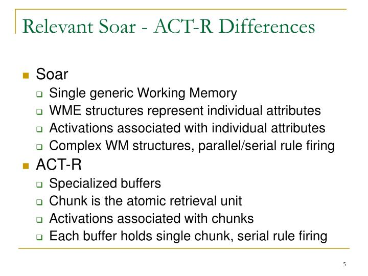 Relevant Soar - ACT-R Differences