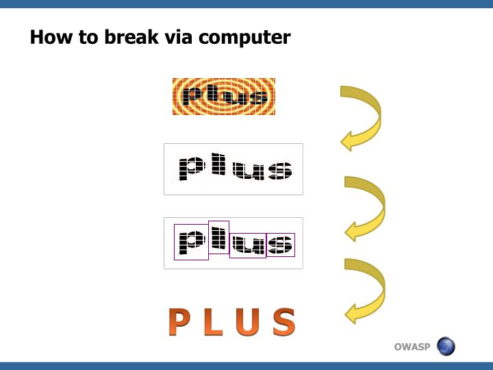 How to break via computer