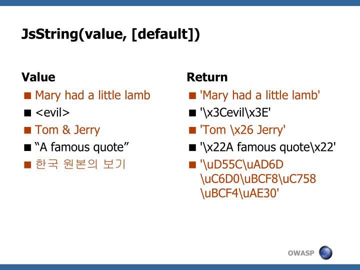 JsString(value, [default])