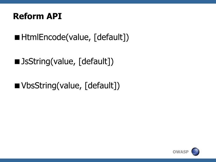 Reform API