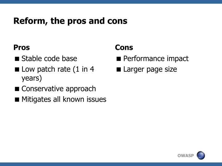 Reform, the pros and cons