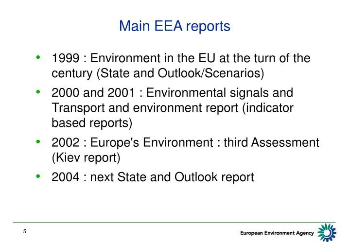 Main EEA reports