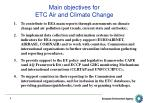 main objectives for etc air and climate change