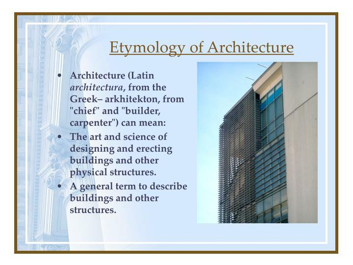 Etymology of architecture