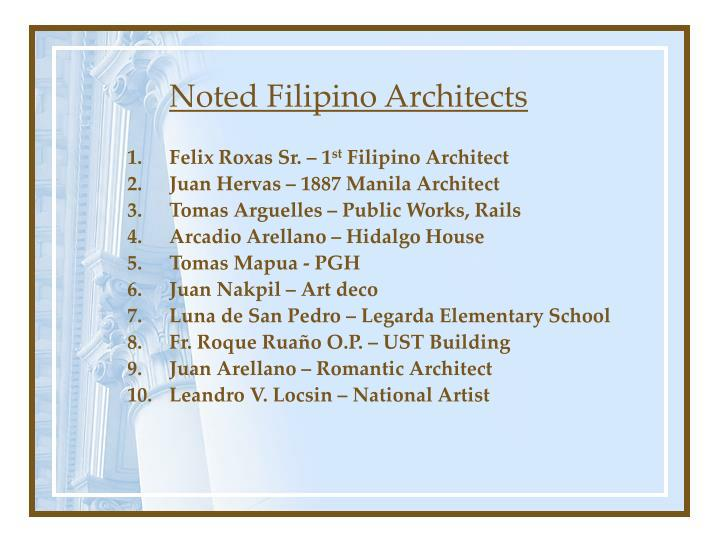 Noted Filipino Architects