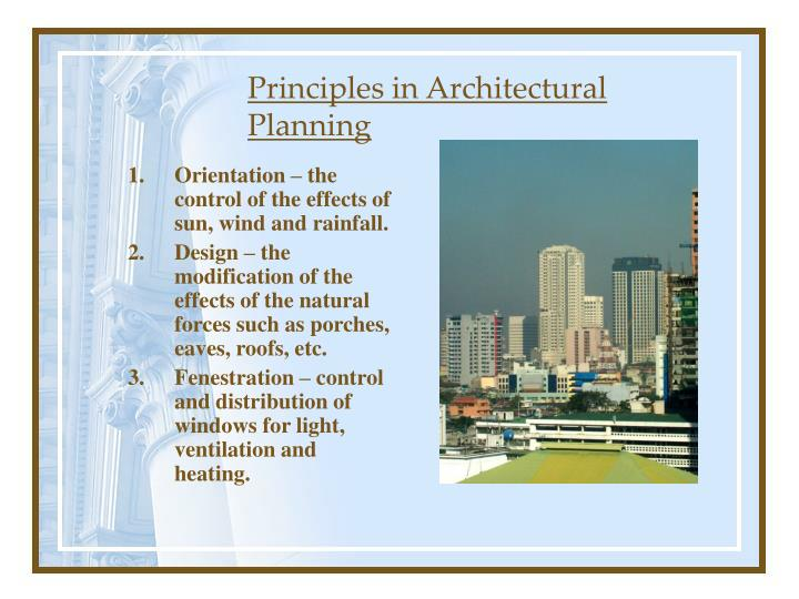 Principles in Architectural Planning