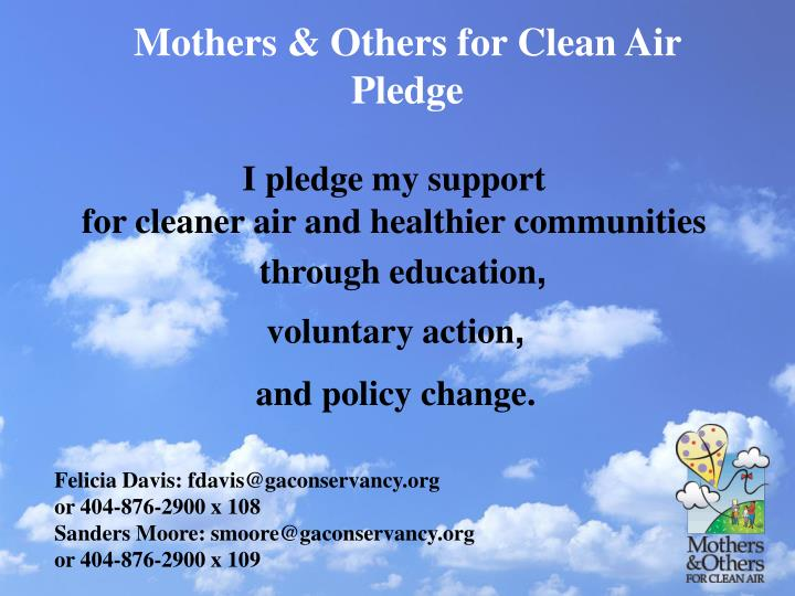 Mothers & Others for Clean Air Pledge