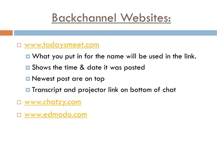 Backchannel Websites: