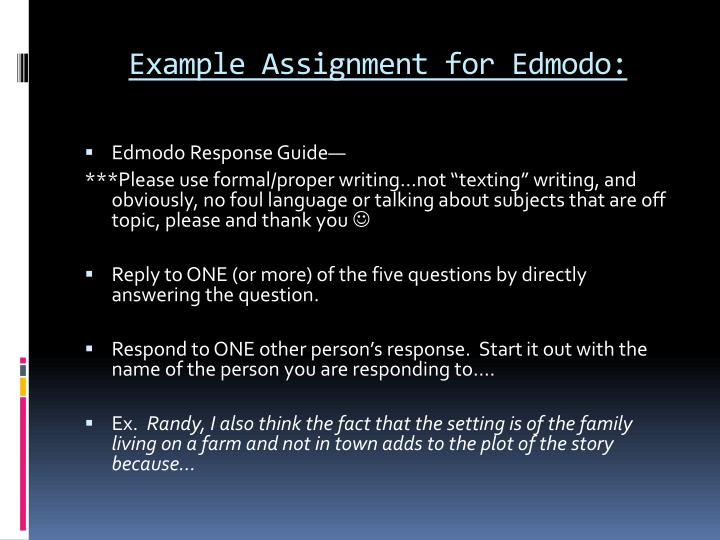 Example Assignment for