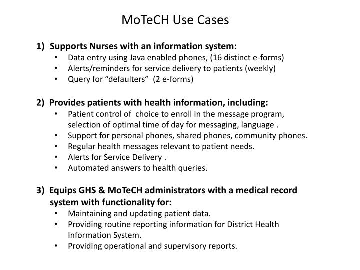 MoTeCH Use Cases