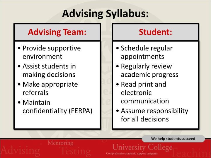 Advising Syllabus:
