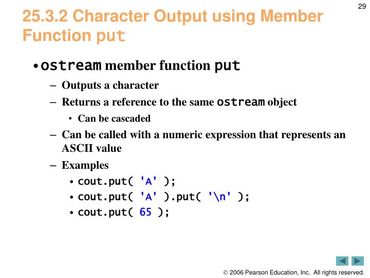 25.3.2 Character Output using Member Function