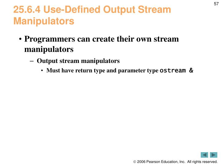 25.6.4 Use-Defined Output Stream Manipulators