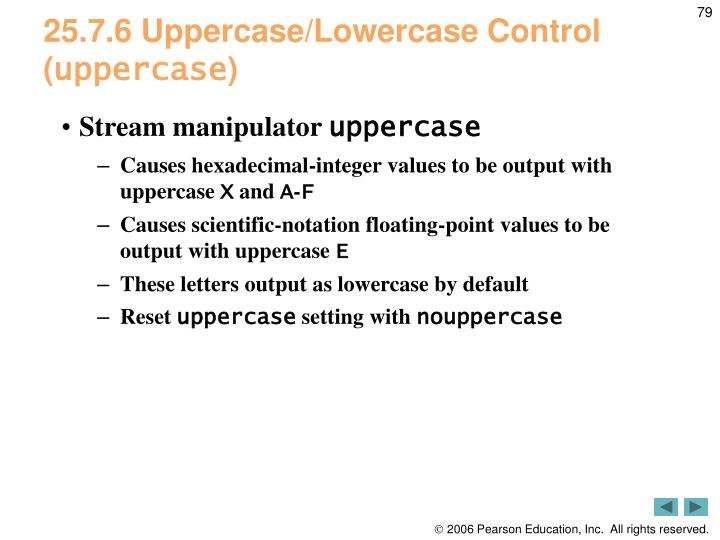 25.7.6 Uppercase/Lowercase Control (