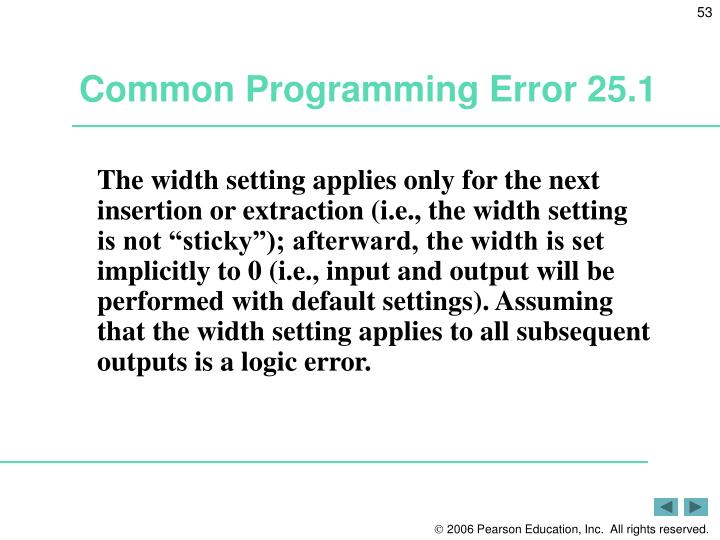 Common Programming Error 25.1