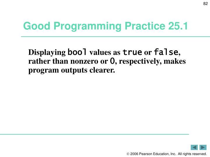 Good Programming Practice 25.1