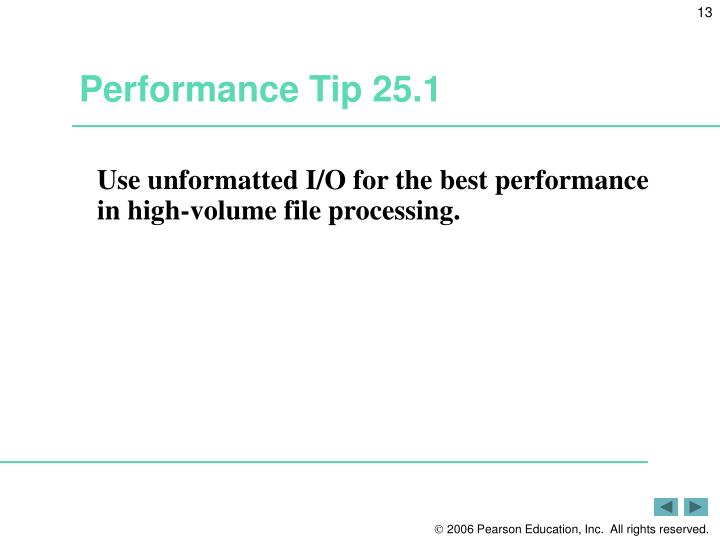 Performance Tip 25.1