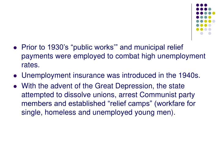 "Prior to 1930's ""public works'"" and municipal relief payments were employed to combat high unemployment rates."