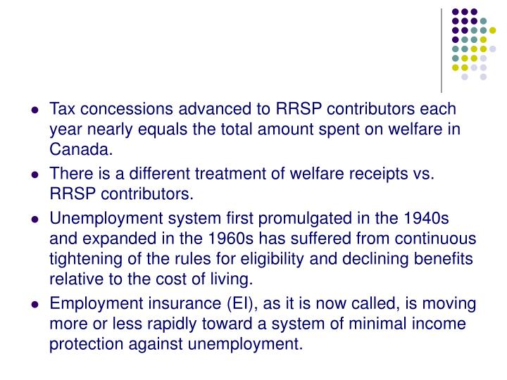 Tax concessions advanced to RRSP contributors each year nearly equals the total amount spent on welfare in Canada.