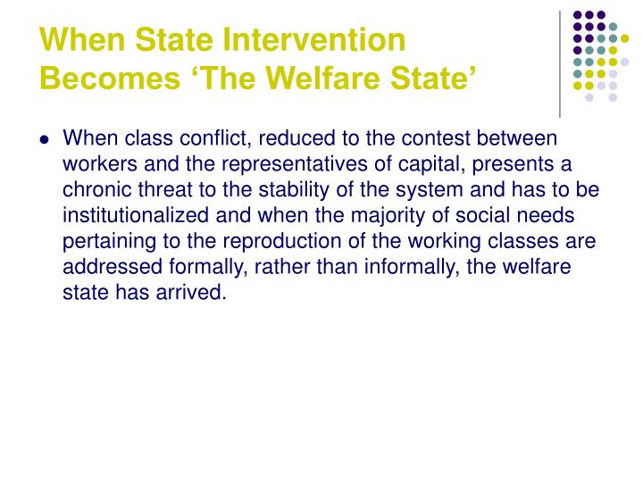 When State Intervention Becomes 'The Welfare State'