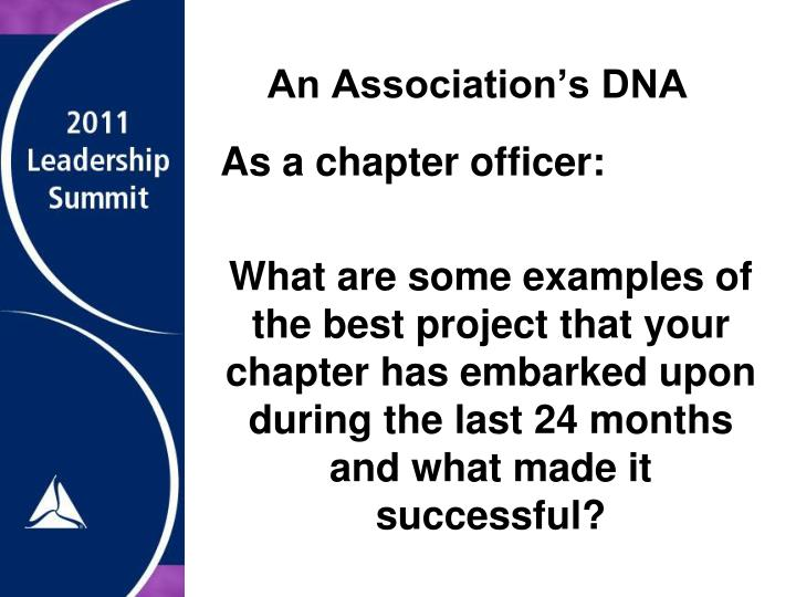 An Association's DNA