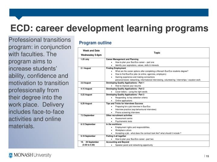 ECD: career development learning programs