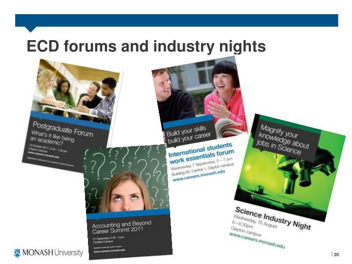 ECD forums and industry nights