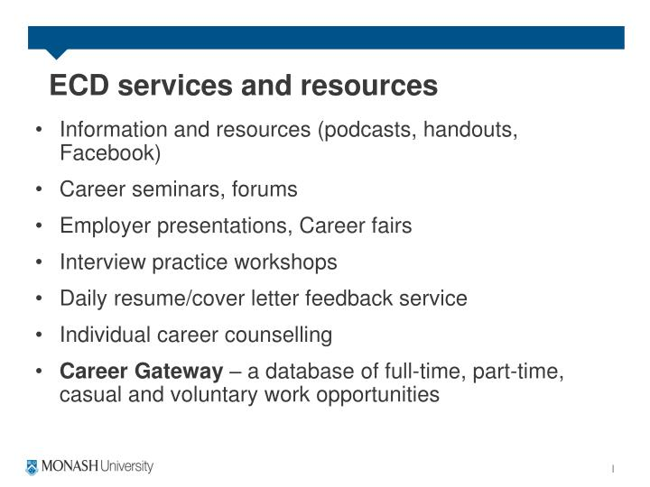 ECD services and resources
