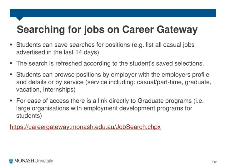 Searching for jobs on Career Gateway