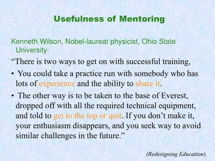 Usefulness of Mentoring