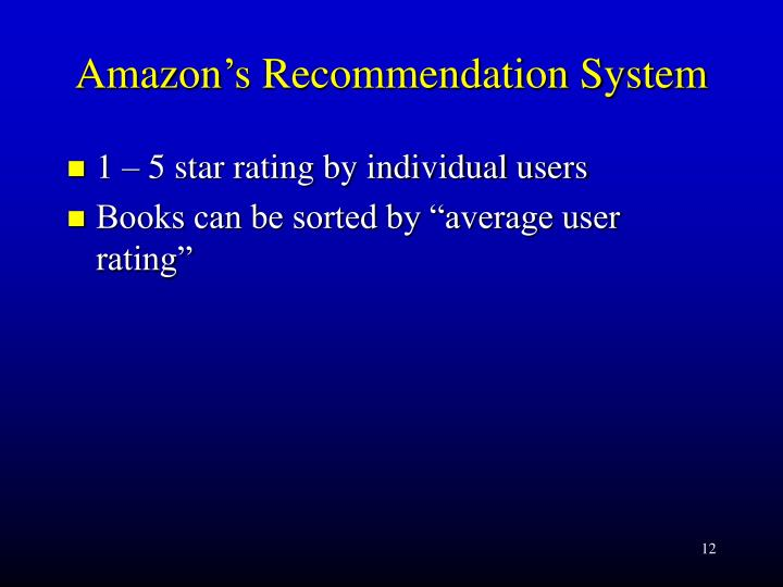 Amazon's Recommendation System