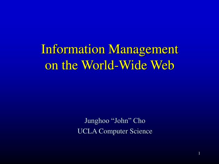 Information management on the world wide web