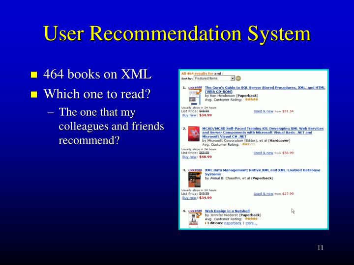 User Recommendation System