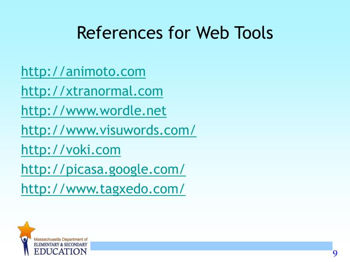 References for Web Tools