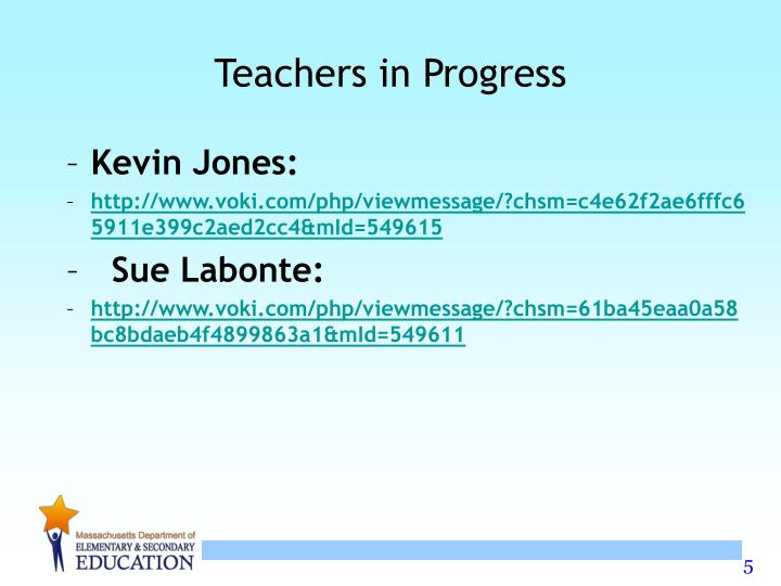 Teachers in Progress